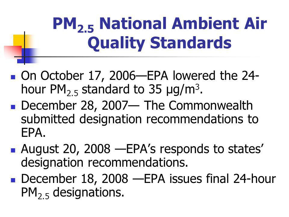 PM 2.5 Nonattainment Area Recommendations The Department tried to maintain consistency between the current annual PM 2.5 nonattainment areas and its recommendations for the 24-hour PM 2.5 standard.