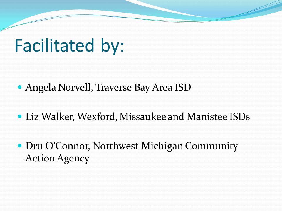 Facilitated by: Angela Norvell, Traverse Bay Area ISD Liz Walker, Wexford, Missaukee and Manistee ISDs Dru OConnor, Northwest Michigan Community Actio