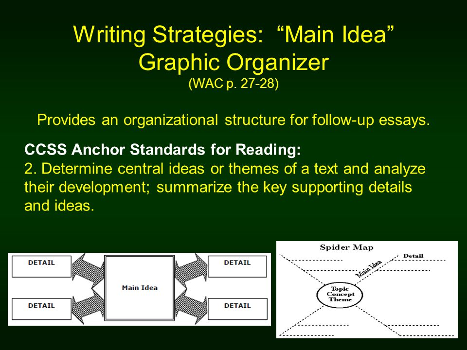 Writing Strategies: Main Idea Graphic Organizer (WAC p. 27-28) Provides an organizational structure for follow-up essays. CCSS Anchor Standards for Re