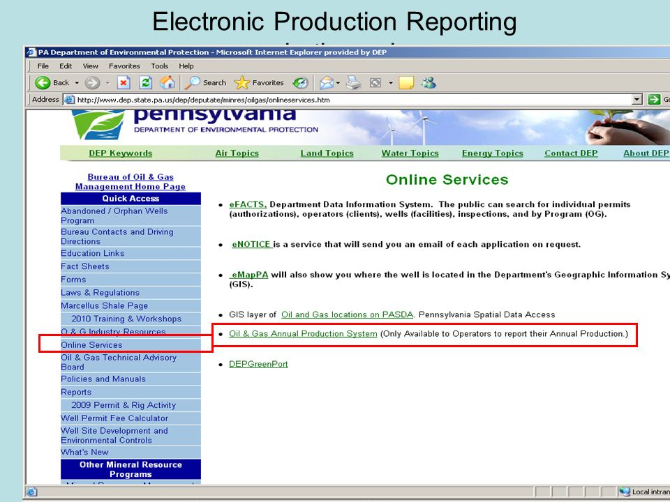 Electronic Production Reporting via the web