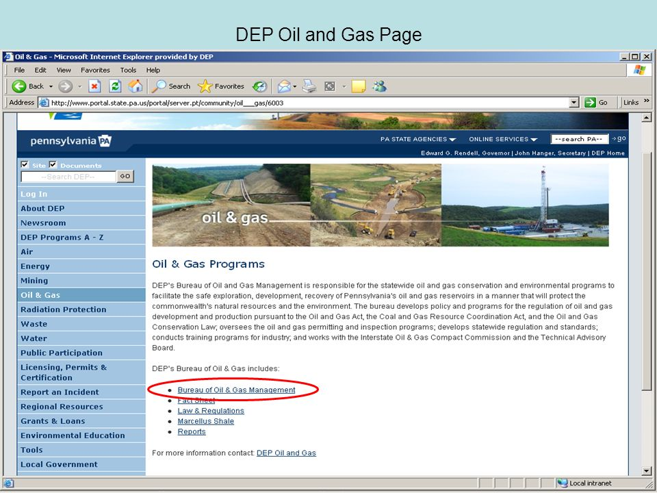 DEP Oil and Gas Page