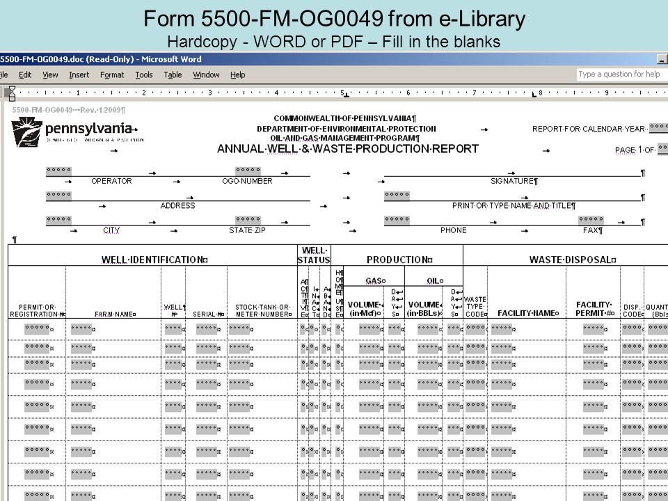 Form 5500-FM-OG0049 from e-Library Hardcopy - WORD or PDF – Fill in the blanks