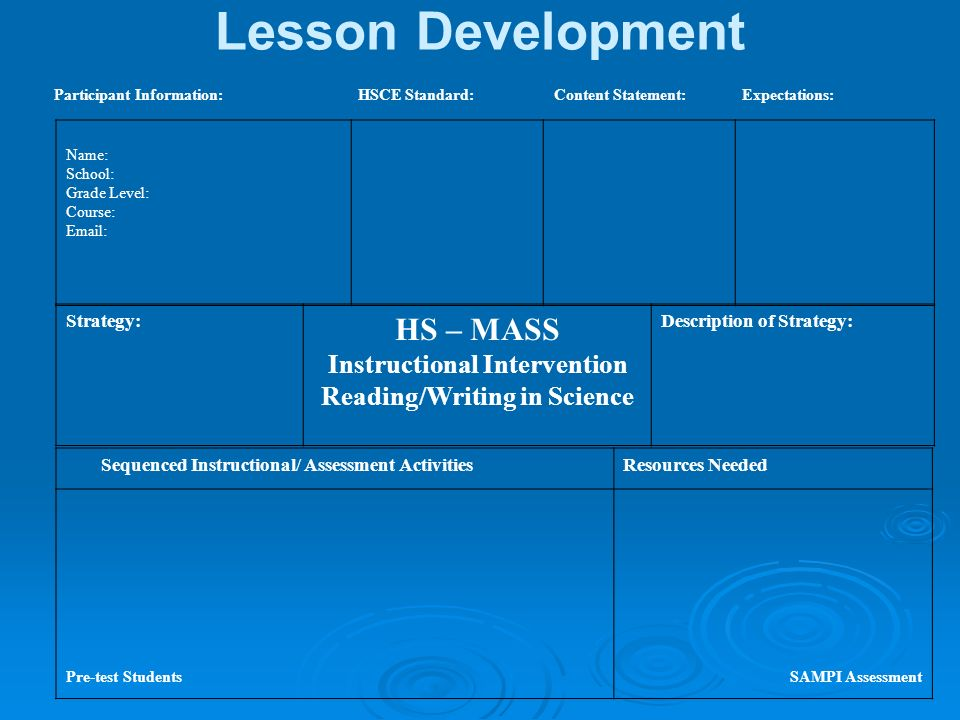 Lesson Development Participant Information: HSCE Standard: Content Statement: Expectations: Name: School: Grade Level: Course: Email: Strategy: HS – M