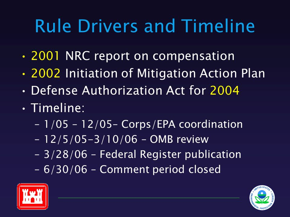 Rule Drivers and Timeline 2001 NRC report on compensation 2002 Initiation of Mitigation Action Plan Defense Authorization Act for 2004 Timeline: –1/05