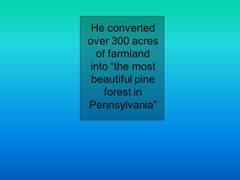 He converted over 300 acres of farmland into the most beautiful pine forest in Pennsylvania