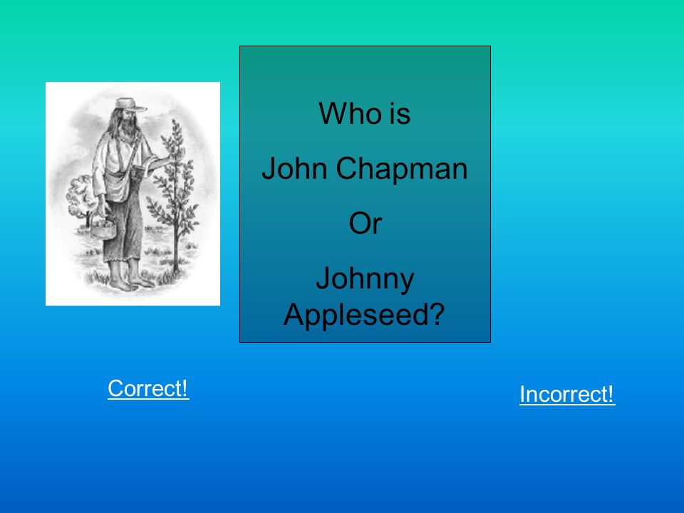 Who is John Chapman Or Johnny Appleseed Correct! Incorrect!