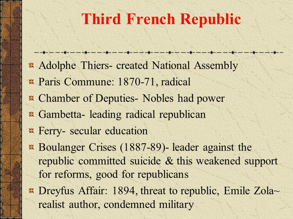 Third French Republic Adolphe Thiers- created National Assembly Paris Commune: 1870-71, radical Chamber of Deputies- Nobles had power Gambetta- leadin