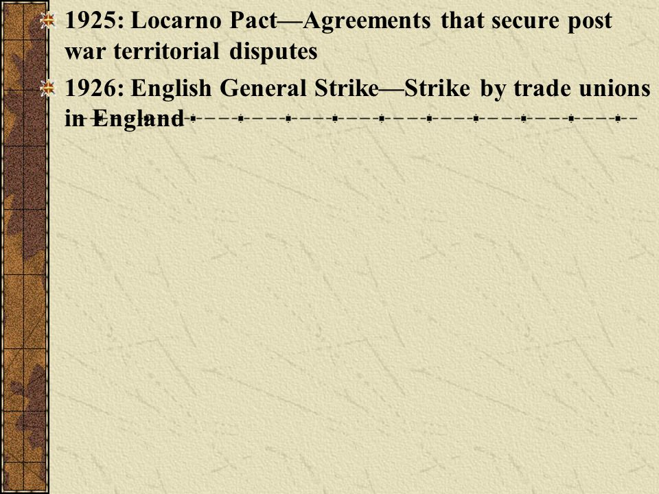 1925: Locarno PactAgreements that secure post war territorial disputes 1926: English General StrikeStrike by trade unions in England
