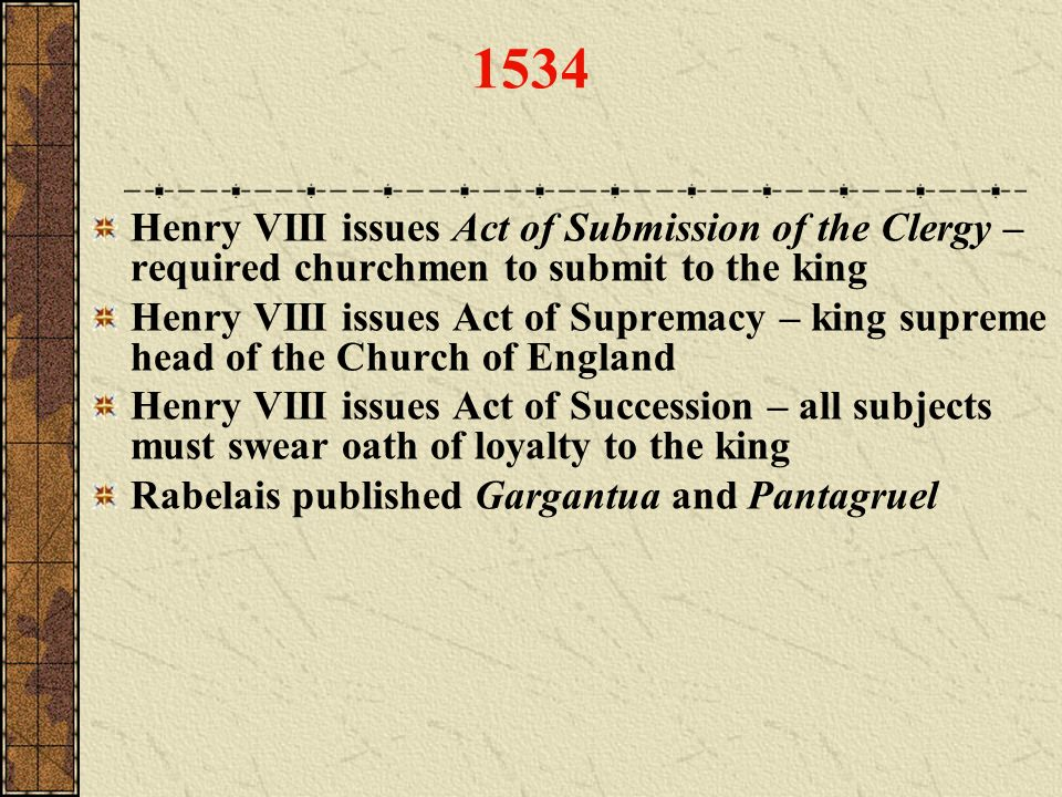 1534 Henry VIII issues Act of Submission of the Clergy – required churchmen to submit to the king Henry VIII issues Act of Supremacy – king supreme he