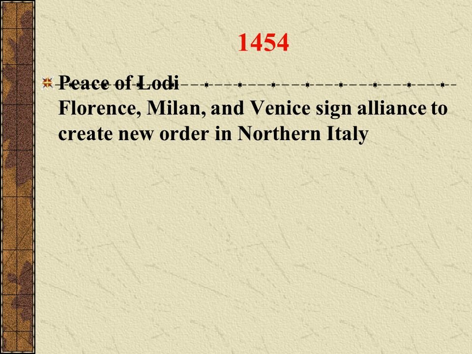 1454 Peace of Lodi Florence, Milan, and Venice sign alliance to create new order in Northern Italy
