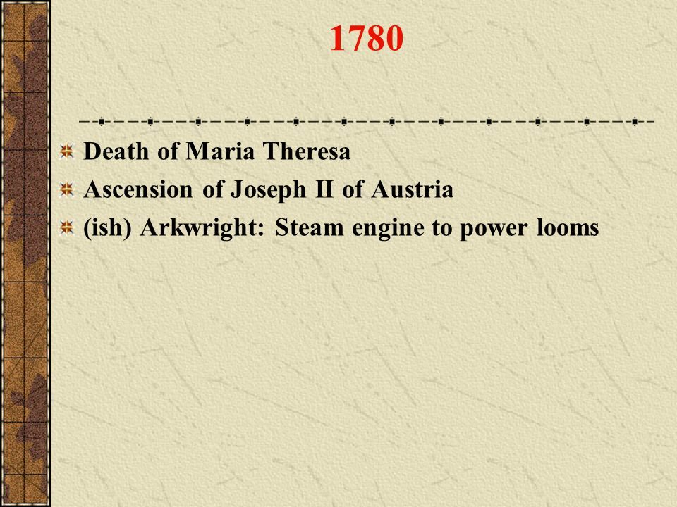 1780 Death of Maria Theresa Ascension of Joseph II of Austria (ish) Arkwright: Steam engine to power looms