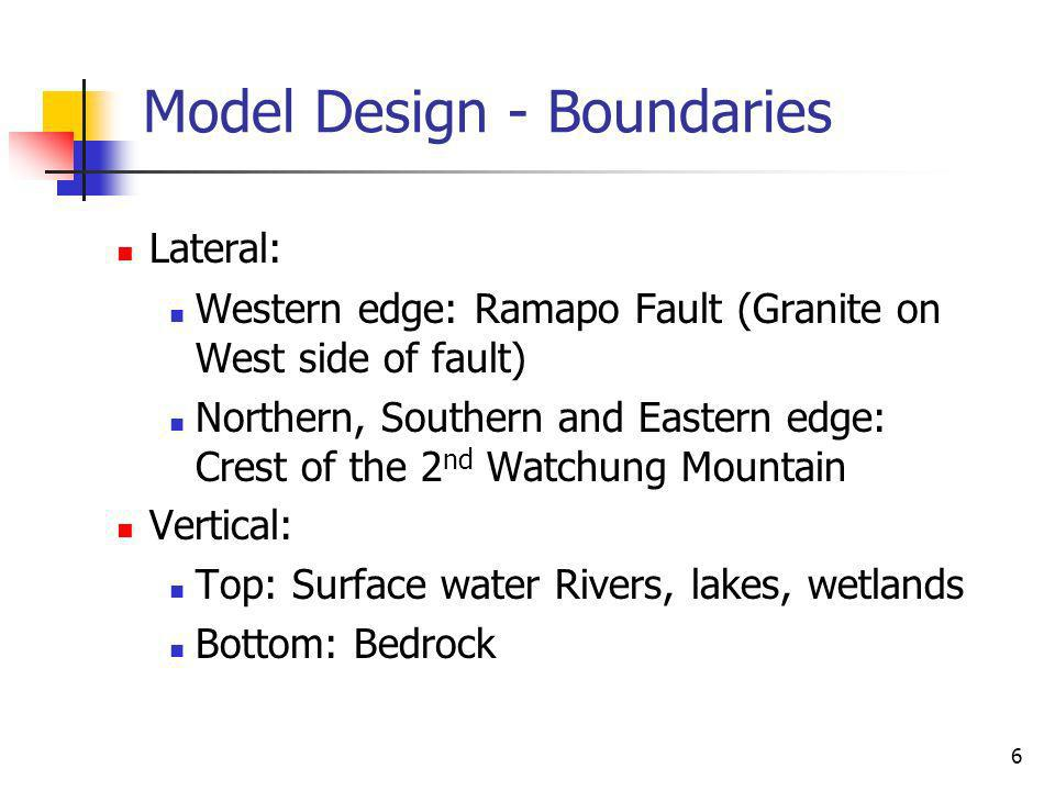 6 Model Design - Boundaries Lateral: Western edge: Ramapo Fault (Granite on West side of fault) Northern, Southern and Eastern edge: Crest of the 2 nd Watchung Mountain Vertical: Top: Surface water Rivers, lakes, wetlands Bottom: Bedrock