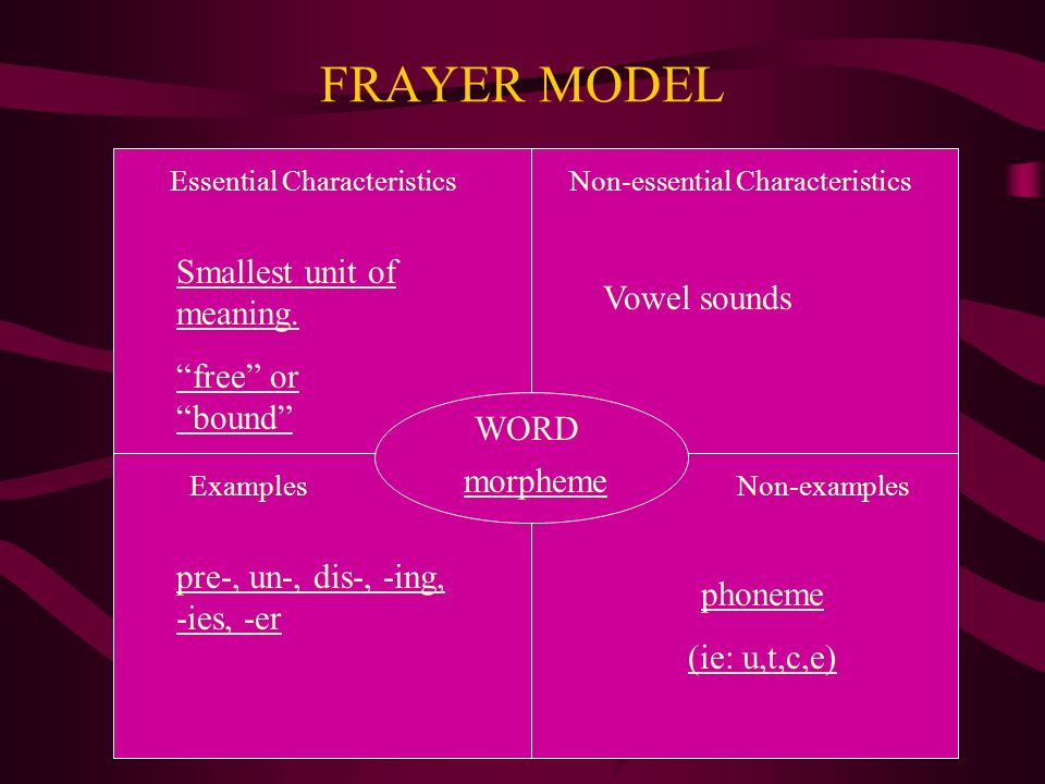 FRAYER MODEL WORD Essential CharacteristicsNon-essential Characteristics ExamplesNon-examples morpheme Smallest unit of meaning.