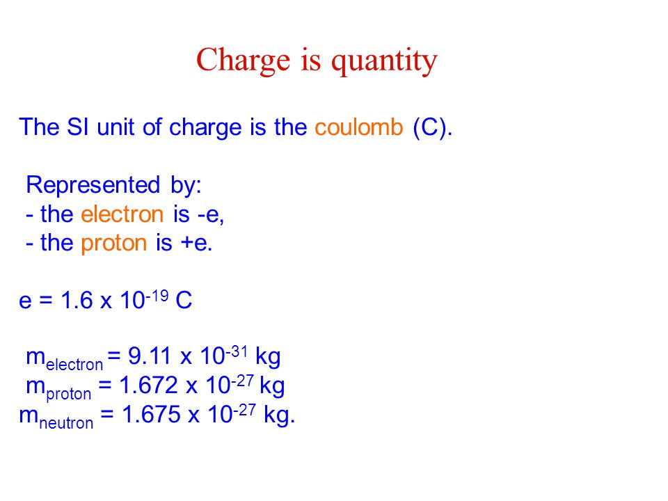 The SI unit of charge is the coulomb (C). Represented by: - the electron is -e, - the proton is +e. e = 1.6 x 10 -19 C m electron = 9.11 x 10 -31 kg m