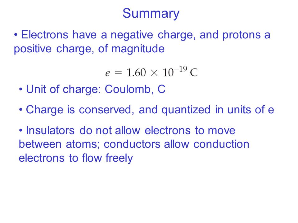 Summary Electrons have a negative charge, and protons a positive charge, of magnitude Unit of charge: Coulomb, C Charge is conserved, and quantized in