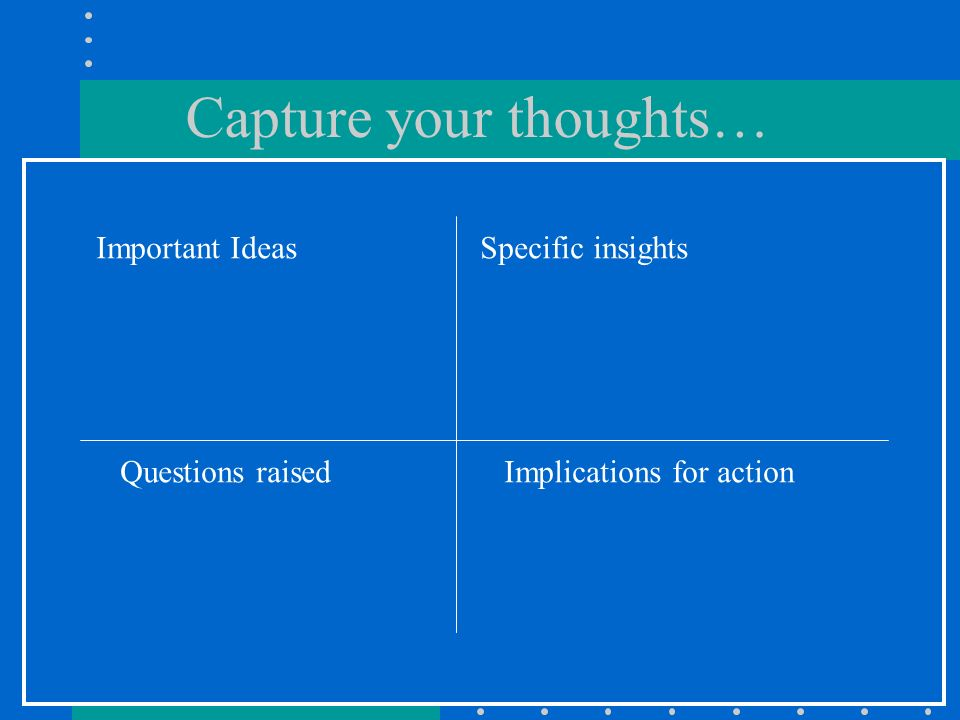 Capture your thoughts… Important IdeasSpecific insights Questions raisedImplications for action