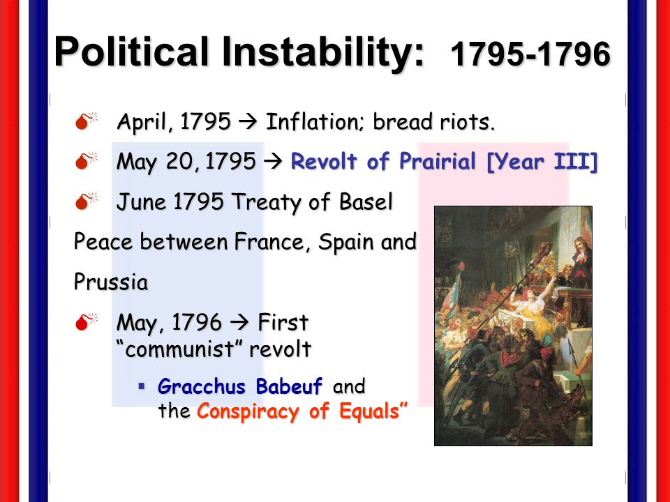 Political Instability: 1795-1796 April, 1795 Inflation; bread riots. April, 1795 Inflation; bread riots. May 20, 1795 Revolt of Prairial [Year III] Ma