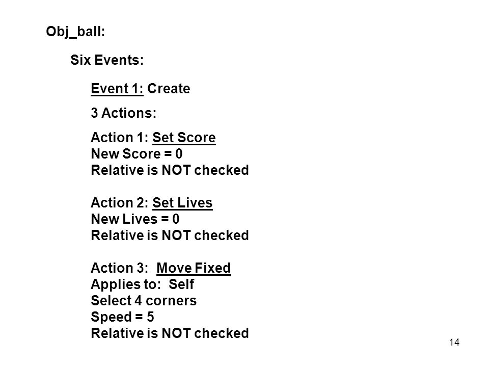Obj_ball: Six Events: Event 1: Create 3 Actions: Action 1: Set Score New Score = 0 Relative is NOT checked Action 2: Set Lives New Lives = 0 Relative is NOT checked Action 3: Move Fixed Applies to: Self Select 4 corners Speed = 5 Relative is NOT checked 14