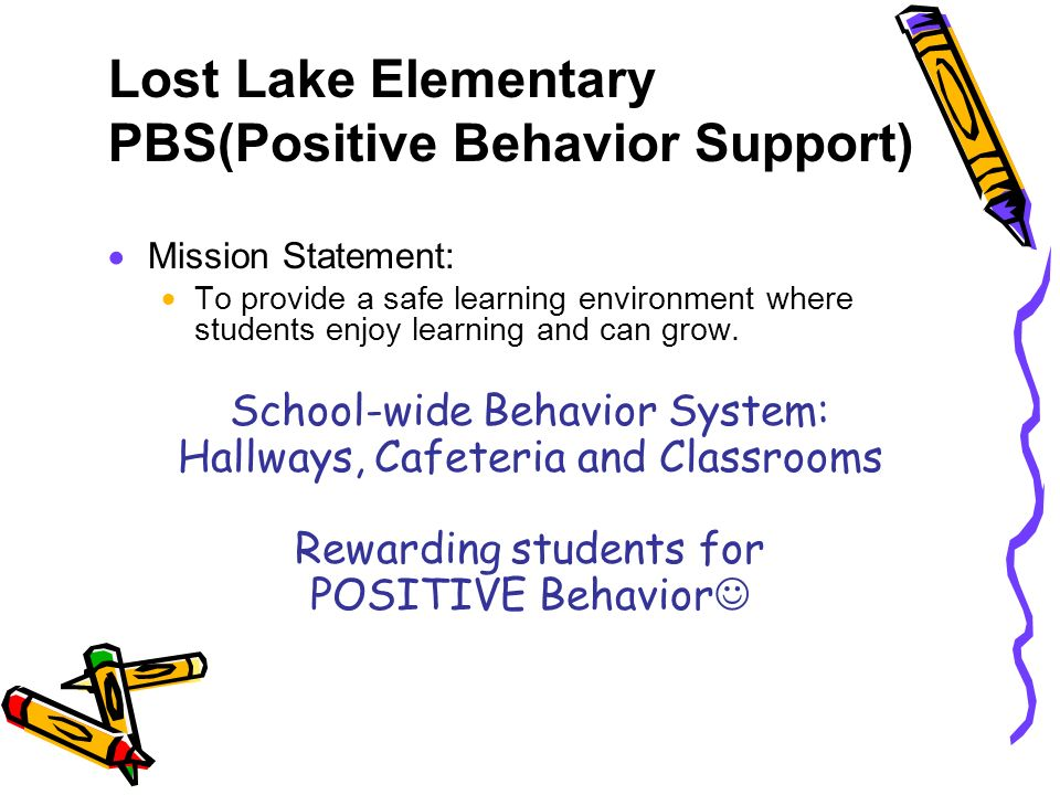 Lost Lake Elementary PBS(Positive Behavior Support) Mission Statement: To provide a safe learning environment where students enjoy learning and can gr