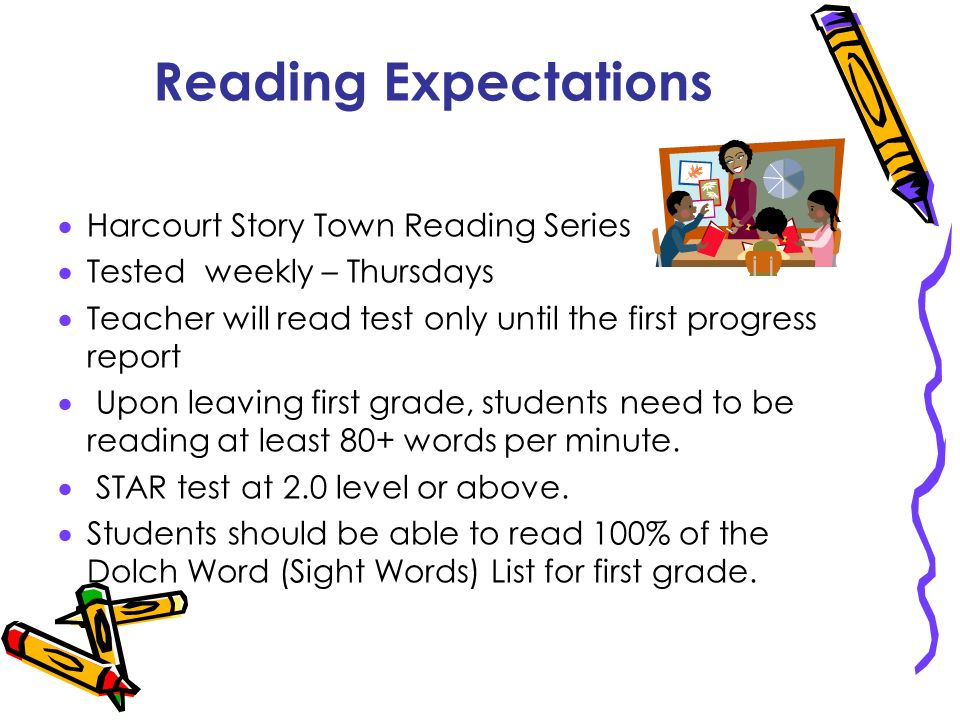 Reading Expectations Harcourt Story Town Reading Series Tested weekly – Thursdays Teacher will read test only until the first progress report Upon lea