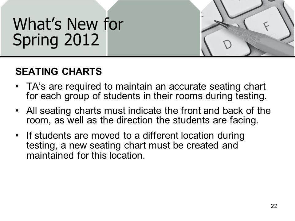 Whats New for Spring 2012 SEATING CHARTS TAs are required to maintain an accurate seating chart for each group of students in their rooms during testing.