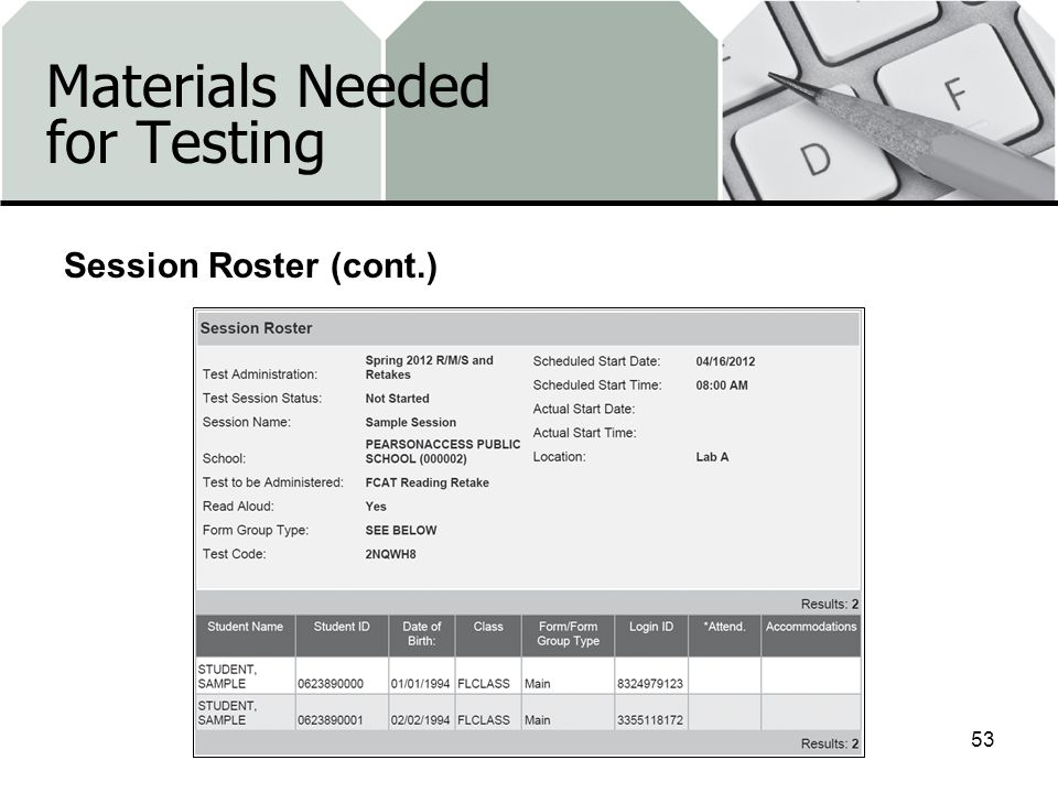 Materials Needed for Testing 53 Session Roster (cont.)