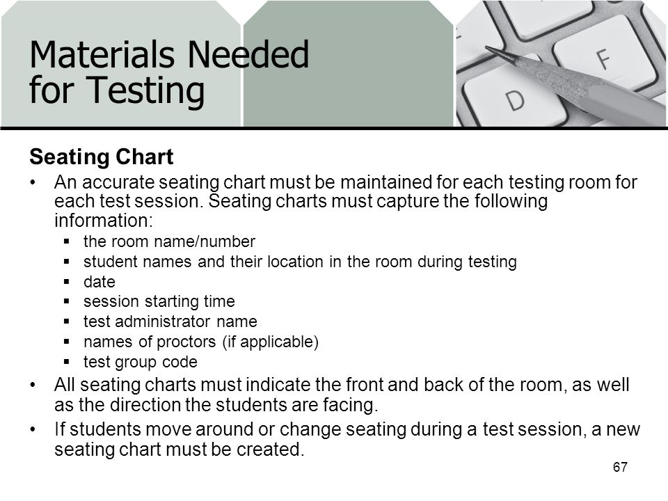 Materials Needed for Testing Seating Chart An accurate seating chart must be maintained for each testing room for each test session.