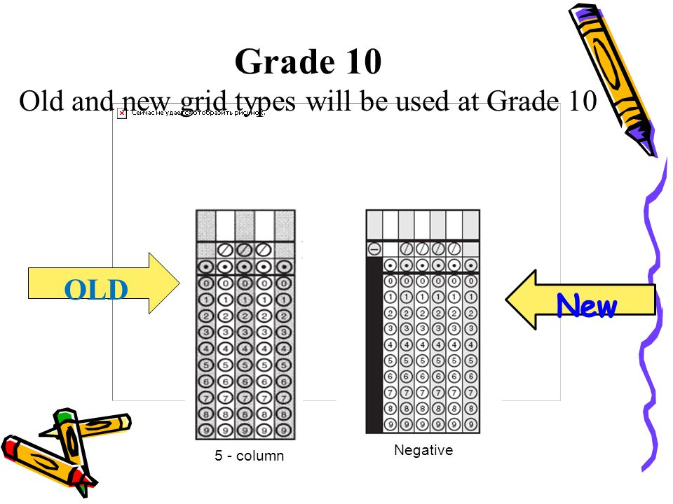 OLD Grade 10 Old and new grid types will be used at Grade 10 5 - column Negative