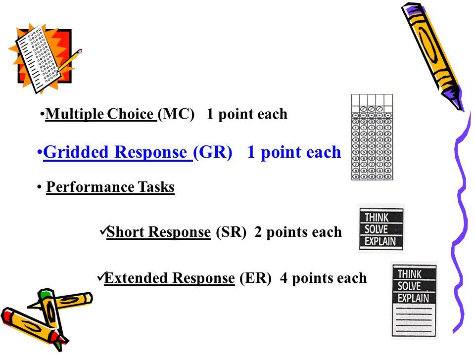 Performance Tasks Short Response (SR) 2 points each Extended Response (ER) 4 points each Multiple Choice (MC) 1 point each Gridded Response (GR) 1 point each