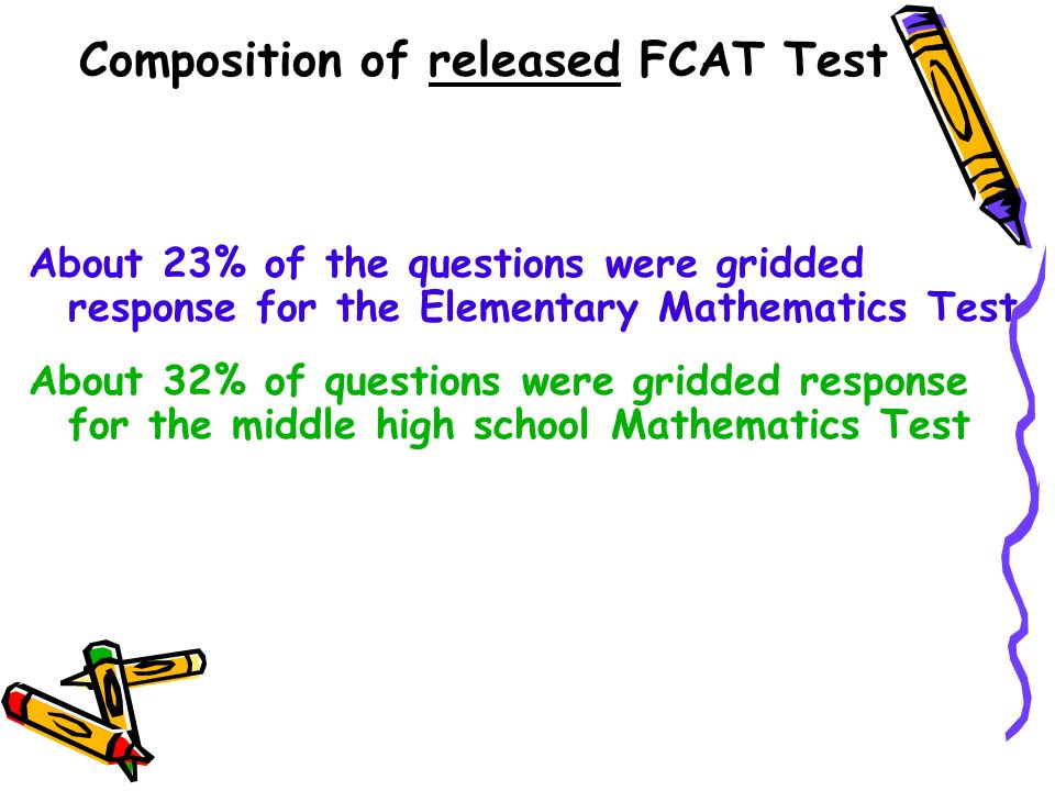 About 23% of the questions were gridded response for the Elementary Mathematics Test About 32% of questions were gridded response for the middle high