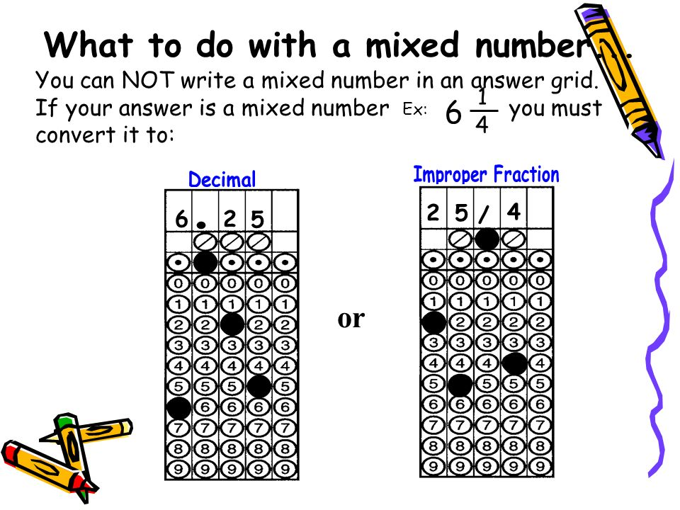 What to do with a mixed number... You can NOT write a mixed number in an answer grid. If your answer is a mixed number y you must convert it to: Ex: 6