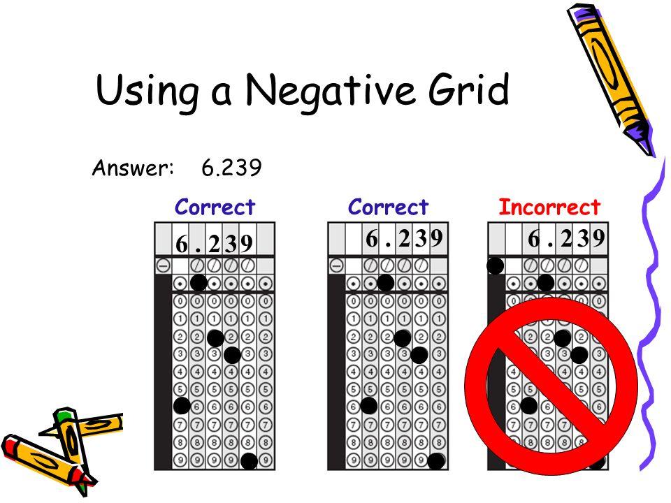 Using a Negative Grid Answer: 6.239 6. 2 3 9 Correct 6. 2 3 9 CorrectIncorrect