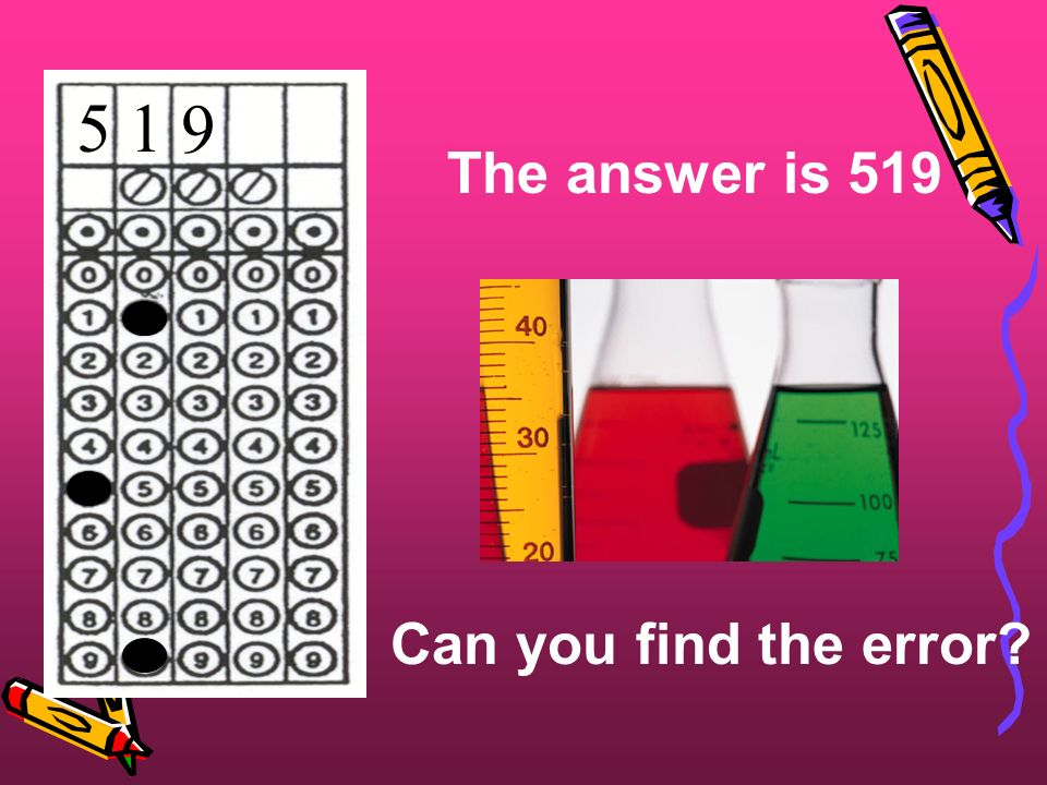 The answer is 519 Can you find the error? 5 1 9