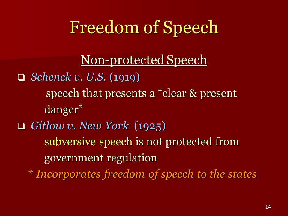 14 Freedom of Speech Non-protected Speech Schenck v. U.S. (1919) Schenck v. U.S. (1919) speech that presents a clear & present danger danger Gitlow v.