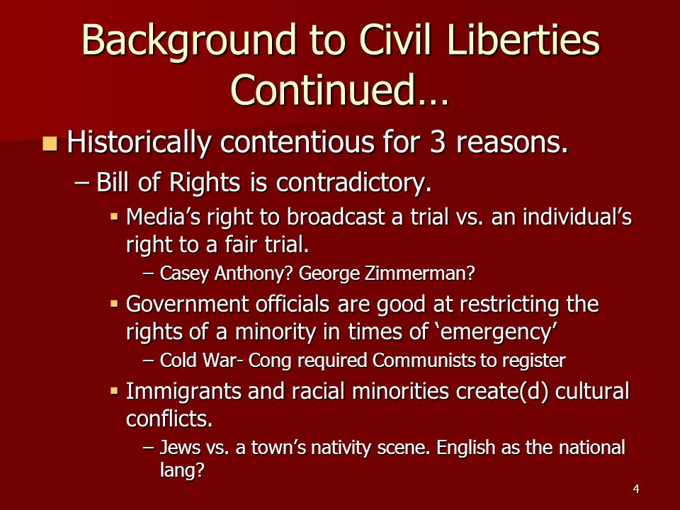 Background to Civil Liberties Continued… Historically contentious for 3 reasons. Historically contentious for 3 reasons. –Bill of Rights is contradict