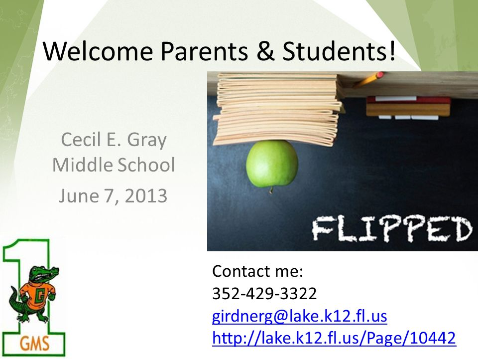 Welcome Parents & Students. Cecil E.