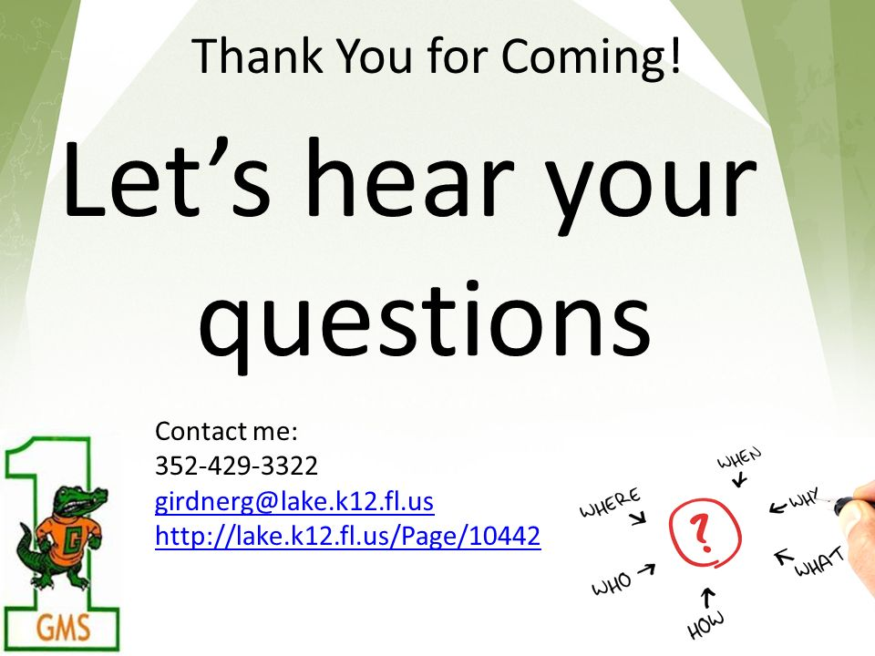 Thank You for Coming! Lets hear your questions 18 Contact me: 352-429-3322 girdnerg@lake.k12.fl.us http://lake.k12.fl.us/Page/10442