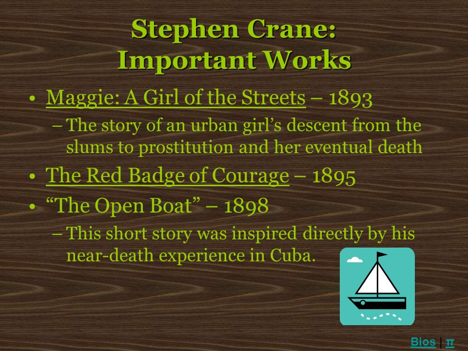 Stephen Crane: Important Works Maggie: A Girl of the Streets – 1893 –The story of an urban girls descent from the slums to prostitution and her eventu