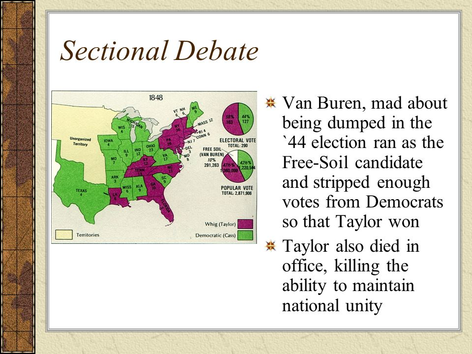 Sectional Debate Van Buren, mad about being dumped in the `44 election ran as the Free-Soil candidate and stripped enough votes from Democrats so that