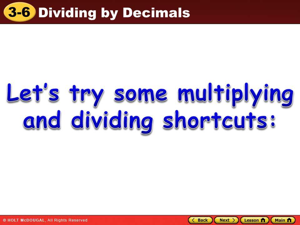 3-6 Dividing by Decimals