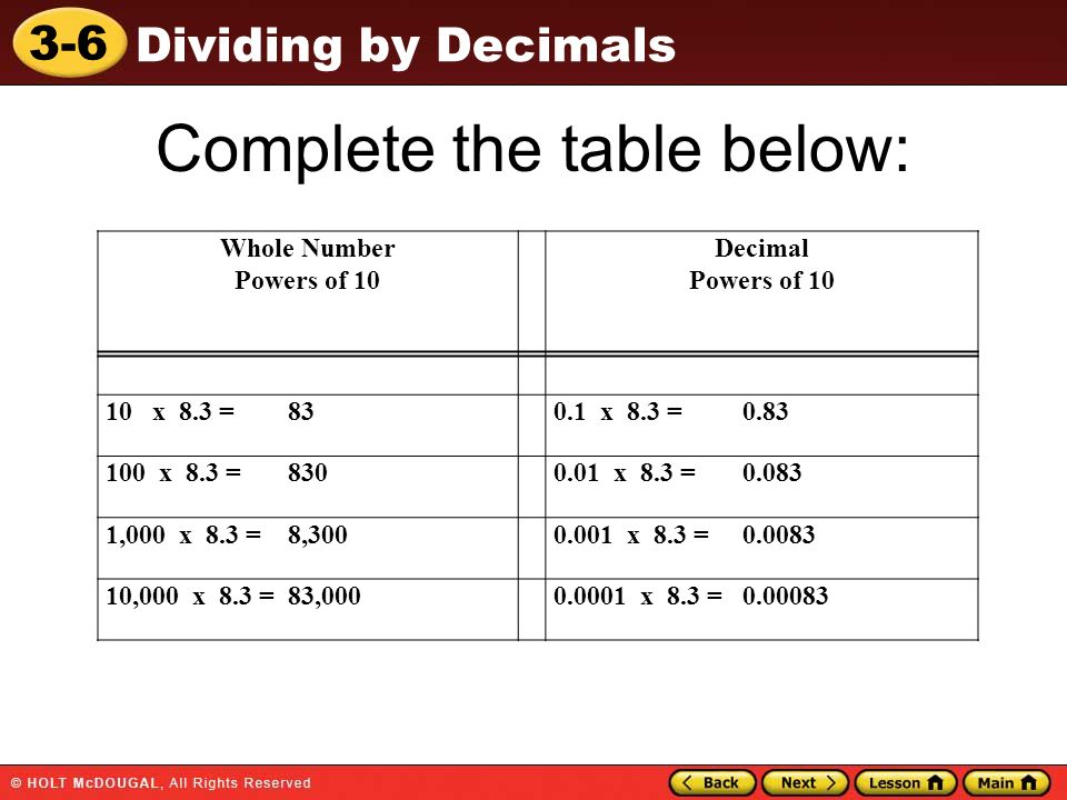 3-6 Dividing by Decimals Complete the table below: Whole Number Powers of 10 Decimal Powers of 10 10 x 8.3 = 830.1 x 8.3 = 0.83 100 x 8.3 = 8300.01 x