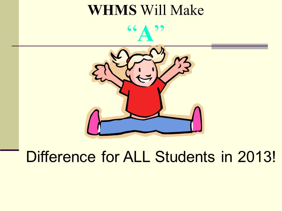 WHMS Will MakeA Difference for ALL Students in 2013!