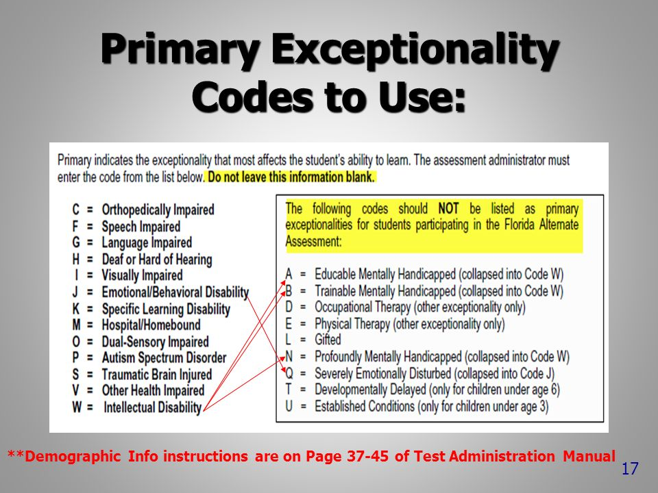 Primary Exceptionality Codes to Use: **Demographic Info instructions are on Page 37-45 of Test Administration Manual 17