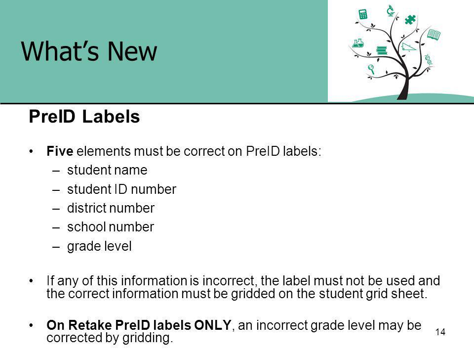 14 Whats New PreID Labels Five elements must be correct on PreID labels: –student name –student ID number –district number –school number –grade level If any of this information is incorrect, the label must not be used and the correct information must be gridded on the student grid sheet.