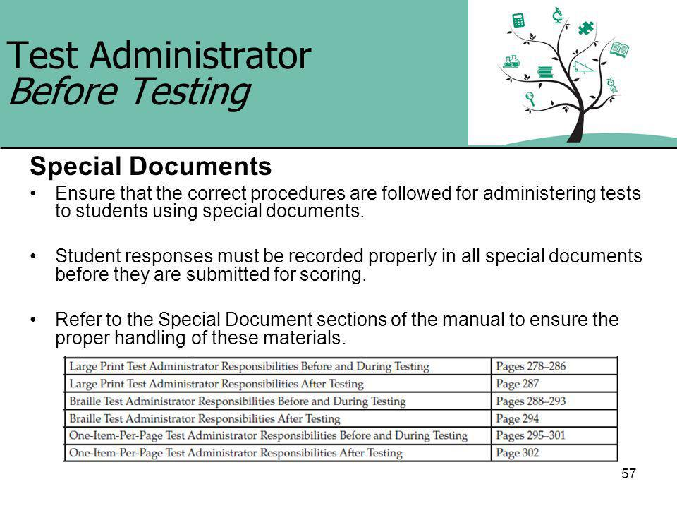 57 Test Administrator Before Testing Special Documents Ensure that the correct procedures are followed for administering tests to students using special documents.