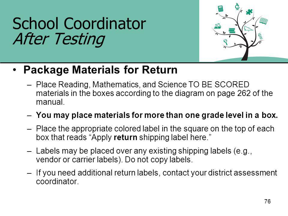 76 School Coordinator After Testing Package Materials for Return –Place Reading, Mathematics, and Science TO BE SCORED materials in the boxes according to the diagram on page 262 of the manual.