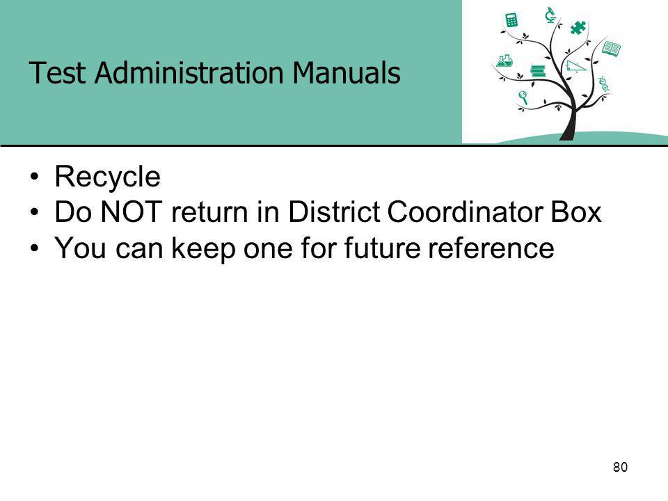 Test Administration Manuals Recycle Do NOT return in District Coordinator Box You can keep one for future reference 80