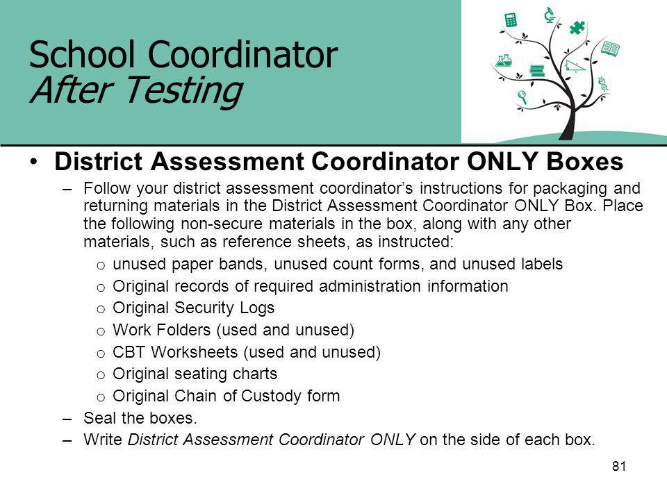 81 School Coordinator After Testing District Assessment Coordinator ONLY Boxes –Follow your district assessment coordinators instructions for packaging and returning materials in the District Assessment Coordinator ONLY Box.