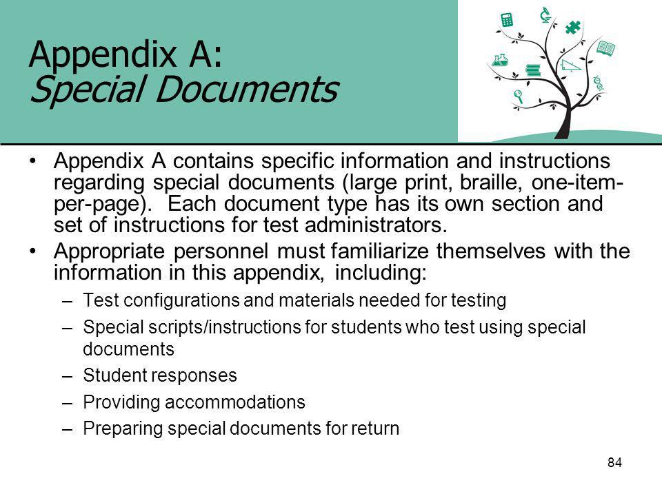 84 Appendix A: Special Documents Appendix A contains specific information and instructions regarding special documents (large print, braille, one-item- per-page).