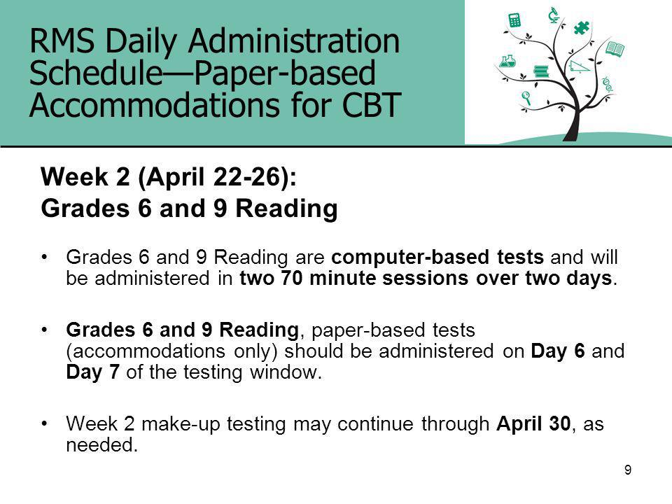 9 RMS Daily Administration SchedulePaper-based Accommodations for CBT Week 2 (April 22-26): Grades 6 and 9 Reading Grades 6 and 9 Reading are computer-based tests and will be administered in two 70 minute sessions over two days.
